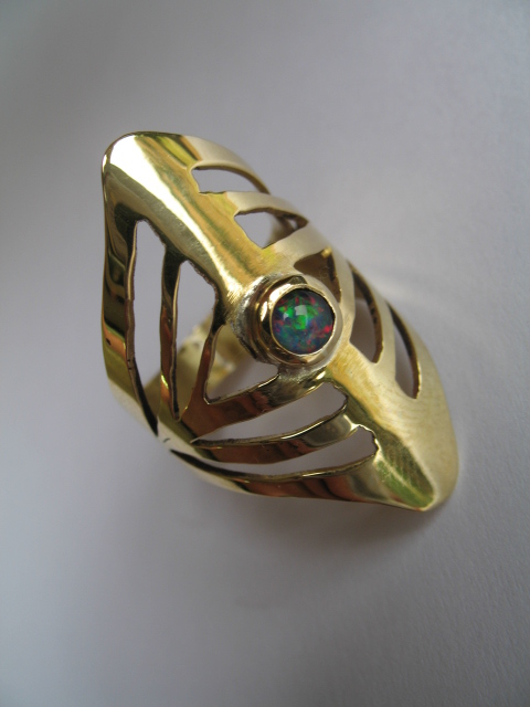 brass and opal ring