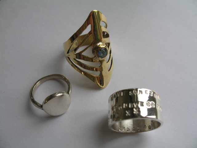 sterling silver, brass and opal ring