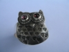 silver and tourmaline owl ring